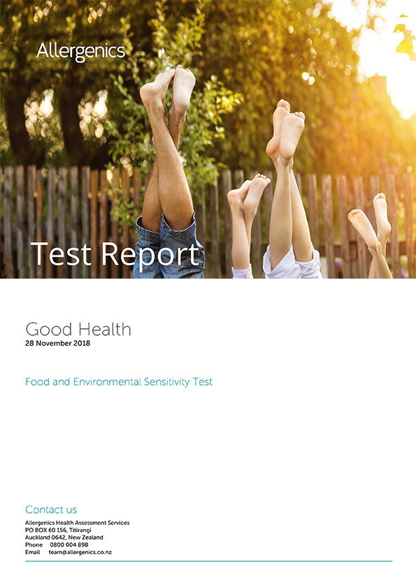 Food and Environmental Sensitivity Test sample report with Family of four doing headstand post in the outdoors.