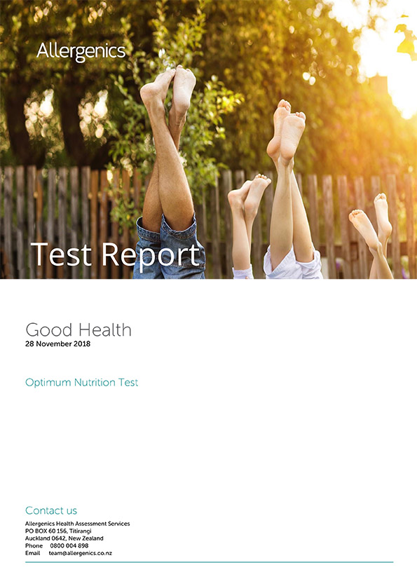 Optimum Nutrition Test - sample report with Family of four doing headstand post in the outdoors.