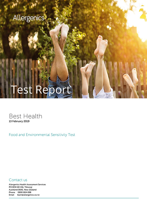 Food and Environmental Sensitivity test sample report with Family of four doing headstand post in the outdoors